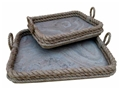 SET OF 2 COASTAL ROPE TRAYS