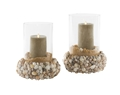 NAPLES MIXED SHELL CANDLEHOLDER DUO